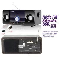 CAIXA DE SOM PORTÁTIL MULTILASER FM USB MP3 20w
