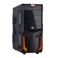 GABINETE GAMER ATX ORANGE 3 BAIAS C/ PAINEL USB FRONTAL