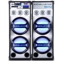 KIT 2 CAIXAS SOM AMPLIFICADA NKS 600W FALANTES DE 10 POLEGADAS USB FM MP3 SD  Bluetooth + MICROFONE