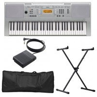 TECLADO MUSICAL YAMAHA 61 TECLAS 550 VOICES FIVE EFECTS - PRATA - 5W - COM KIT TRIPÉ