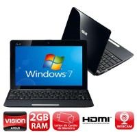 NETBOOK ASUS INTEL HD 320GB 2GB RAM WEBCAM WIN7 - PRETO