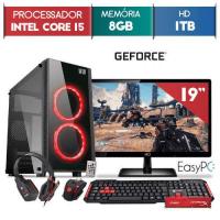 PC GAMER COMPLETO EASYPC INTEL CORE i5 GEFORCE 4GB 8GB RAM 1TB HD MONITOR LED 19.5 POLEGADAS LINUX