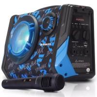 CAIXA DE SOM Bluetooth Usb Fm SD 500W BLUE LIGHT C/ MICROFONE