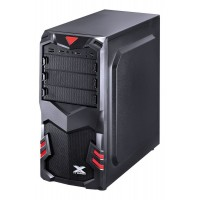 GABINETE GAMER CENT. PRETO COM LED AZUL - 4 BAIAS