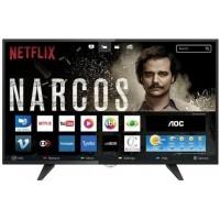 SMART TV LED 39 AOC HD C/ CONVERSOR DIGITAL 2 HDMI 1 USB WI-FI FUNCAO CLOSED CAPTION - PRETA