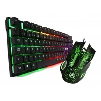 MOUSE + TECLADO SEMI-MECANICO KNUP GAMER LED LUMINOSO USB C/ TECLAS MULTIMIDIA
