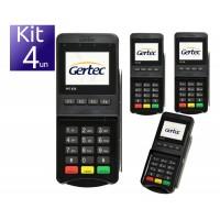 KIT 04 UND PIN PAD TEF GERTEC LEITOR DE CARTAO USB C/ CABO DUPLO