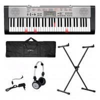KIT TECLADO MUSICAL CASIO 61 TECLAS 100 VOICES Falantes de 10cm c/USB PRETO/PRATA