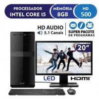 PC INTEL CORE i5 8GB RAM DDR3 HD 500GB HDMI AUDIO 5.1 MONITOR LED 19.5 WIN 10