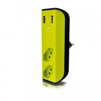 CARREGADOR 2 PORTAS USB C/ FILTRO DE LINHA + 2 TOMADAS ENERMAX BEM LIGADO VERDE