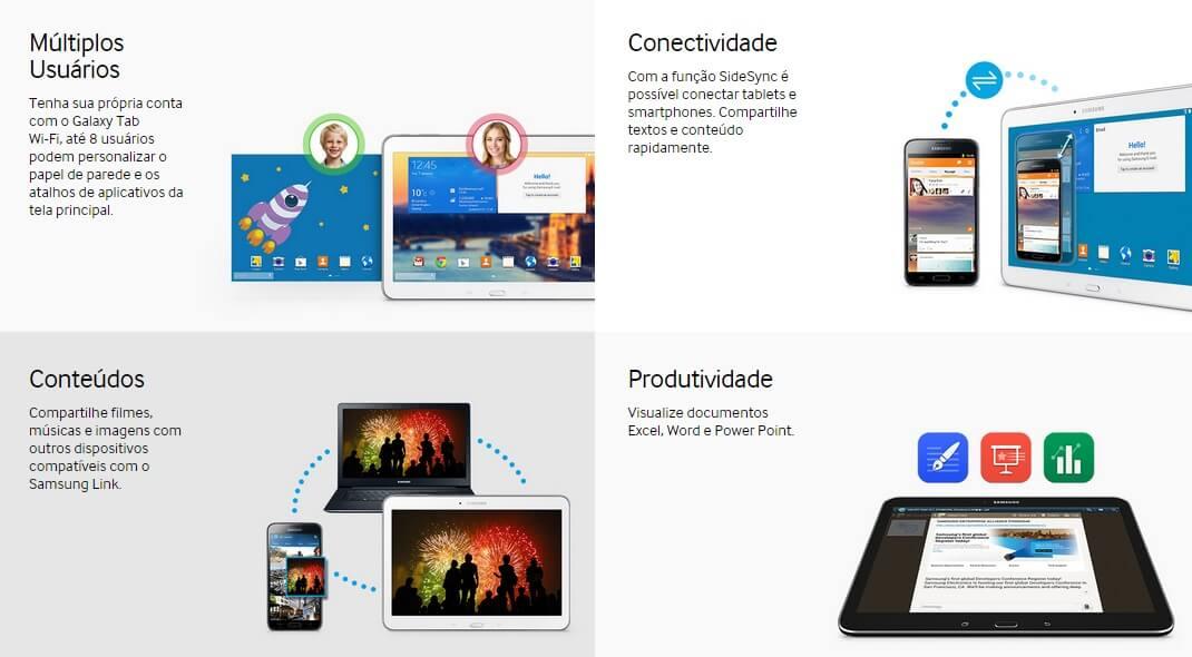 TABLET EXECUTIVO SAMSUNG GALAXY c/ 3G Tela 10.1 Android 4.3 16G Wi-Fi 16GB Wi-Fi