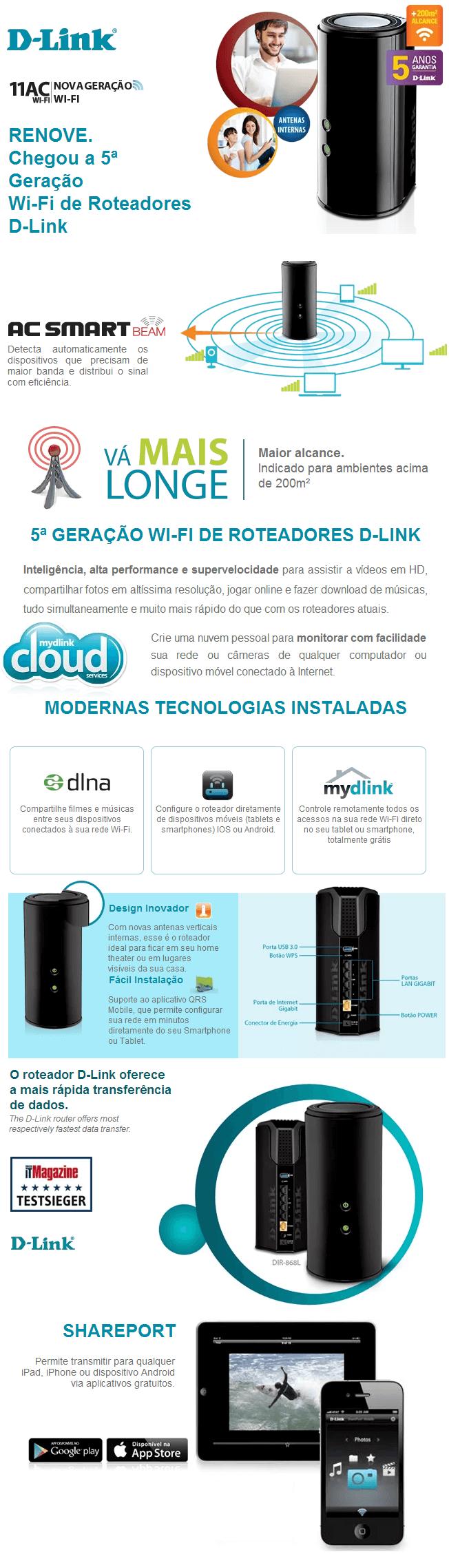 ROTEADOR D-LINK 1740Mbps C/ USB 3.0 FiveGeneration