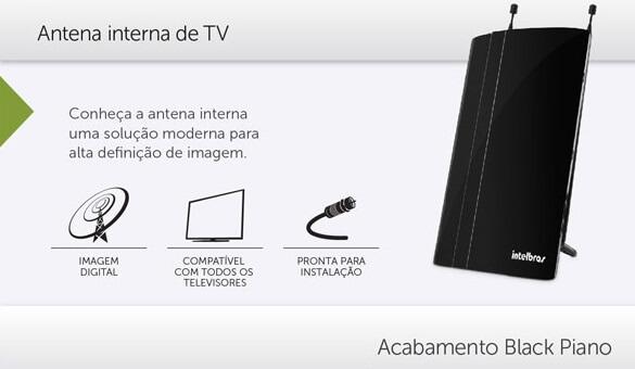 ANTENA TV INTERNA INTELBRAS Analógica e Digital  Fm, UHF, VHF, HDTV