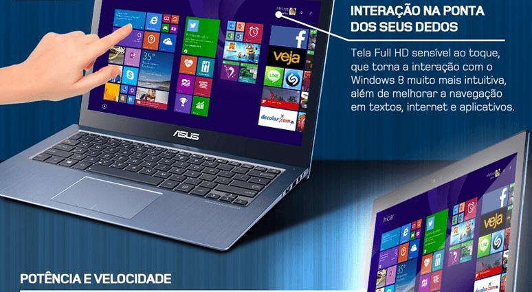 ULTRABOOK ASUS TOUCH CORE I5 4GB RAM HD SSD 16GB + HD500  WIN10 TELA LED 13 C/ PLACA DE VÍDEO GFORCE 2GB