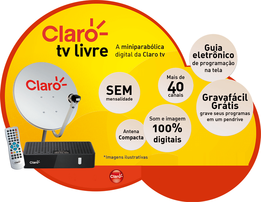 ANTENA DE TV CLARO LIVRE DIGITAL c/ 25 CANAIS DE TV DIGITAL