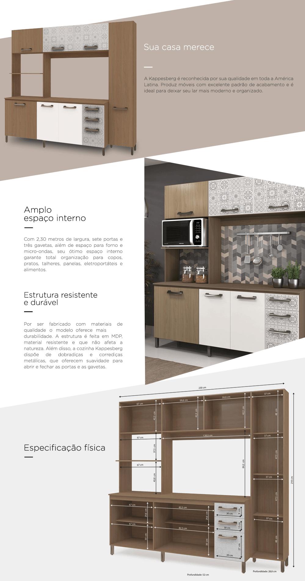 Armario De Cozinha Brim Design 8 Portas 2 Gavetas Cozinha Completa