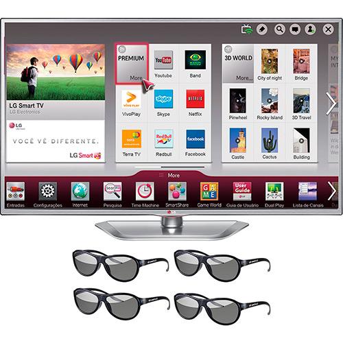 SMART TV 55 3D LG LED SLIM FULL HD HDMI USB 4 OCULOS 3D CINE SILVER