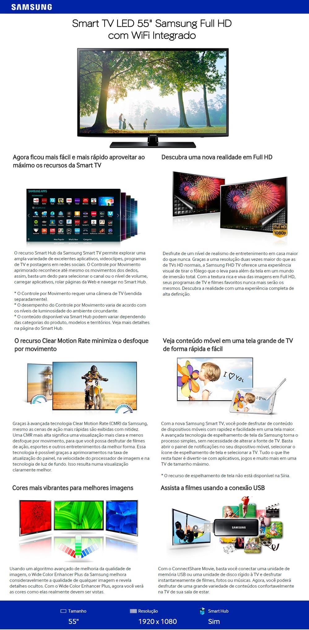 SMART TV 55 LED SAMSUNG FULL HD HDMI WIFI USB CONVERSOR DIGITAL