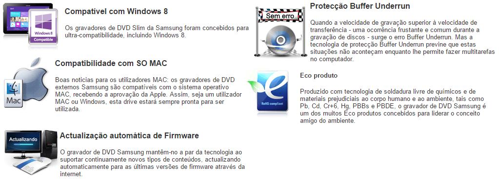 LEITOR E GRAVADOR DVD EXTERNO SAMSUNG PORTÁTIL USB