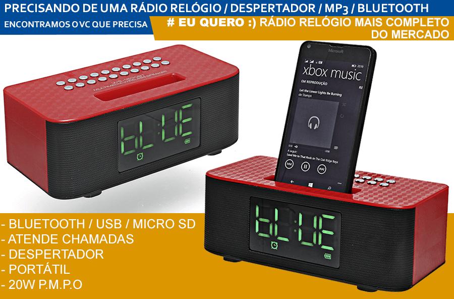 1f42479f2c2 RÁDIO-RELÓGIO FM DESPERTADOR ATENDE CHAMADAS USB SD BLUETOOTH bw ws ...